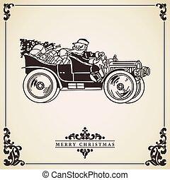 card., dirigindo, claus, carro., santa, natal