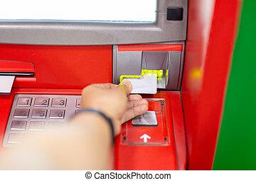 card., distributeur billets banque, main, machine, crédit, utilisation, homme