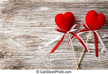 card., drewniany, list miłosny, dwa, tło., serca, dzień, czerwony