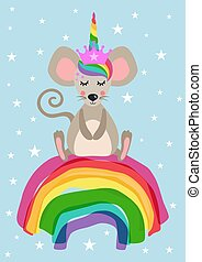 card, enhjørning, mus, regnbue, siddende, hils, cute
