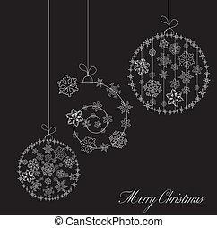 card., estilizado, vector, negro, pelotas, navidad