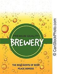 card., fabbrica birra, illustrazione, birra, vettore, aviatore, festa, gocce