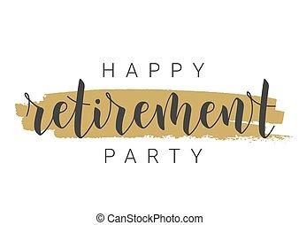 card., feliz, fiesta., plantilla, manuscrito, retiro, letras, saludo