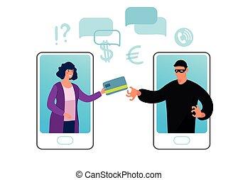 card., femme, fraude, voler, ligne, banque, écran, scammer, cyber, illustration., hacking., vecteur, plat, données, téléphone, illustration, crime, conceptuel