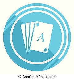 Card flat design blue web icon, easy to edit vector illustration for webdesign and mobile applications
