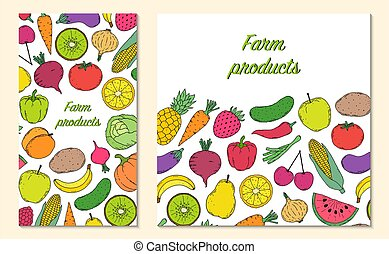 Card, flyer with vegetables and fruits