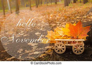 card., folhas, saudação, carreta, outono, novembro, olá