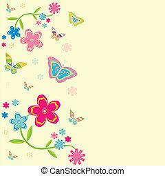 card., fond, à, fleurs, et, papillons