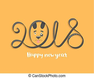 Card for 2018 year with dog face.