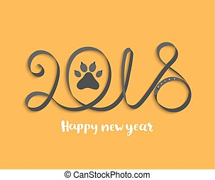 Card for 2018 year with dog paw.