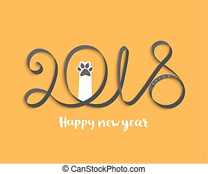 Card for 2018 year with puppy paw.
