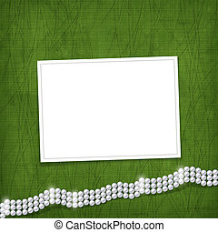 Card for anniversary or congratulation with pearls