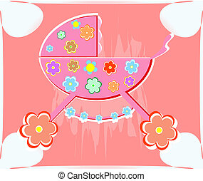 card for baby. vector perambulator for girl