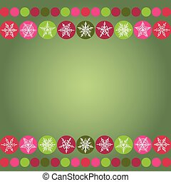 Card for Christmas design frame with snowflakes on green background. vector