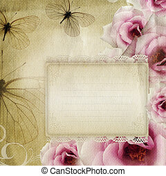 Card for congratulation or invitation with roses