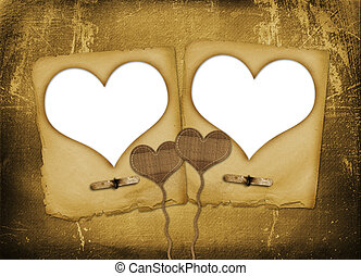 Card for congratulation or invitation with hearts for photo