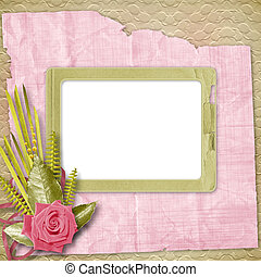 Card for congratulation or invitation with pink roses