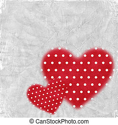 Card for congratulation or invitation with red hearts