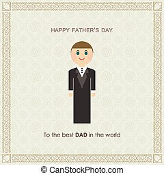 card for dad day in flat design. Happy fathers day card vintage retro