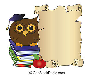 card for degree with owl and parchment