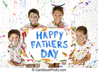 Card for Fathers Day - Siblings holding up card painted for...