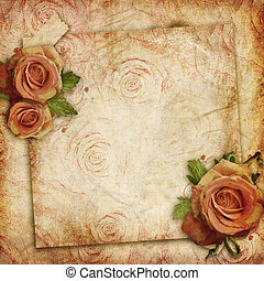 Card for greeting or invitation on the vintage background