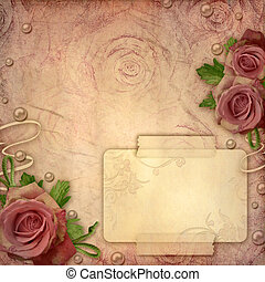 Card for greeting or invitation on the vintage background with roses