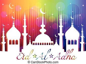 Card for greeting with Islam feast Eid al-Adha