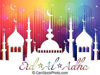 Card for greeting with Islam feast Eid al-Adha