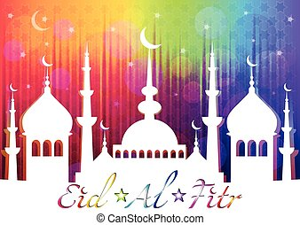 Card for greeting with Islam feast Eid al-Fitr and finish of Ramadan