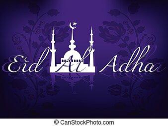 Card for greeting with Islamic feast Eid al-Adha