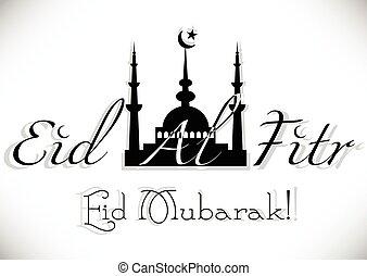 Card for greeting with Islamic feast Eid al-Fitr