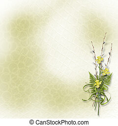 Card for invitation or congratulation with bunch of willow...