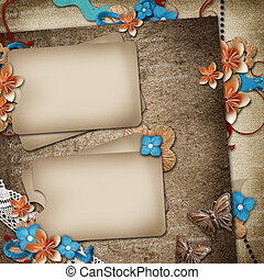 Card for invitation or congratulation on vintage background