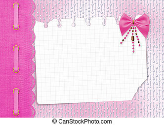 Card for invitation or congratulation with bow and beads