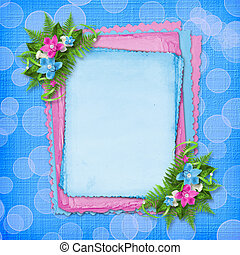 Card for invitation with blue and pink orchids