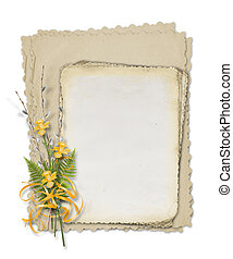 Card for invitation with bunch of willow and narcissus