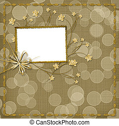 Card for invitation with orchids and bow