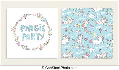 Card for magic party with unicorns.