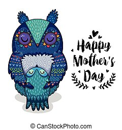 Card for Mothers Day with owls