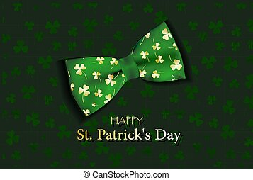 card for St. Patrick's day. 3d clover effect vector. The bow tie. Realistic banner design..