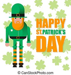 Card for St. Patrick's Day with leprechaun in hat. Invitation to an Irish party at the Pub. Happy St. Patrick's Day.