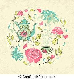 Card for tea party. Hand drawn tea mug and teapot with...