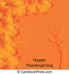 card for thankgiving day - a patterned group of orange leafs...