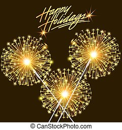 card for the holiday with burning sparklers