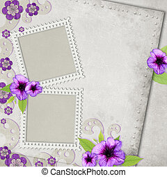 Card for the holiday with flowers on the abstract background