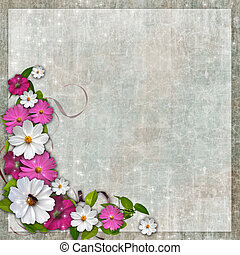 Card for the holiday with plant and flowers on the abstract background