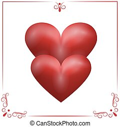 Card for Valentine s Day. Two purple hearts on a white background in a frame, isolated illustration