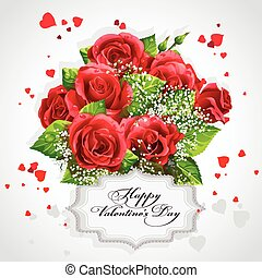 Card for Valentines Day Heart of red roses