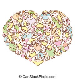 Card for Valentine's Day. Heart of the flying angels and cupids.